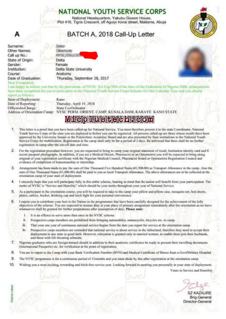 How to Print NYSC Call Up-Letter