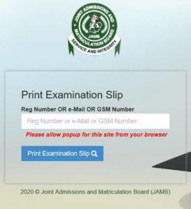 How Reprint JAMB Exam Slip