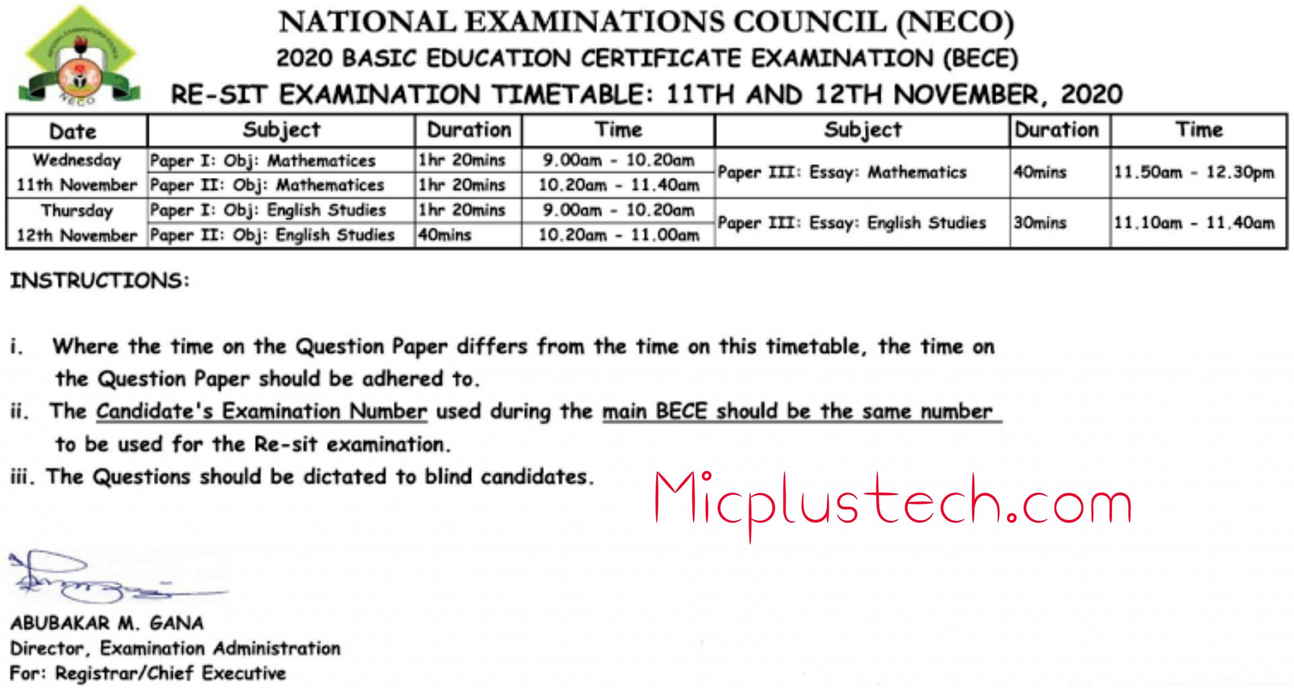 NECO (BECE) Junior Waec RESIT Timetable